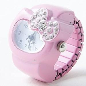 姫系雑貨 ラブカワオリジナル 可愛いキティちゃん 指輪時計 ピンク&ホワイト 通販商