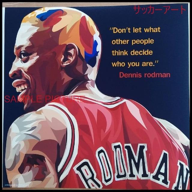 スポーツグラフィックアートパネル デニス・ロッドマン NBA シカゴブルズ デザインB 木製 壁掛け ポスター (003-076)
