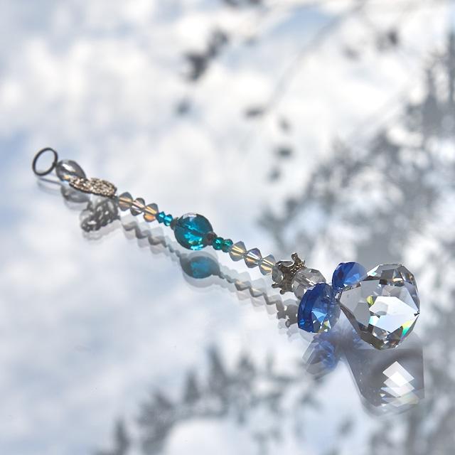 【ブルー系】スワロフスキー ベルトップクリスタルの天使サンキャッチャー
