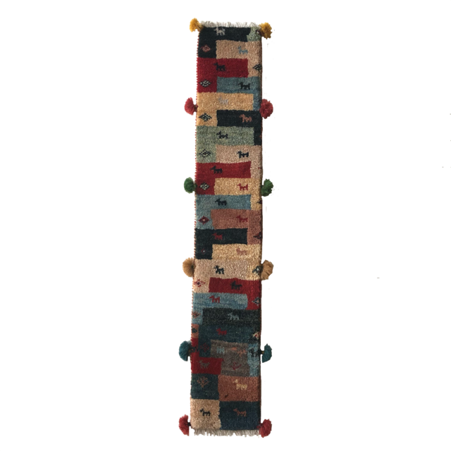 ギャッベ 細長タイプ M 【GB-026】パッチワーク 動物・生命の樹 15×90