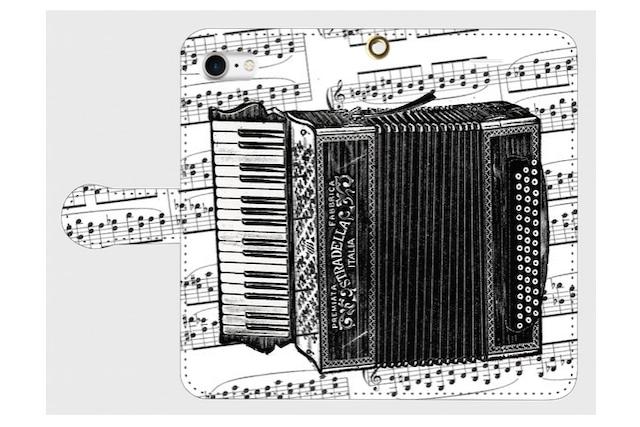 (iPhone用)アコーディオンの手帳型スマホケース(楽譜)