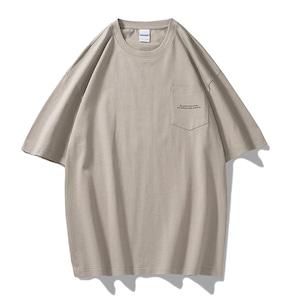 ラウンドネックハーフTシャツ  クルーネック バックプリント Tシャツ 胸ポケット