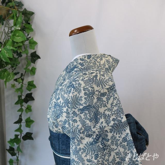 正絹紬 浪花鼠の縞の単衣