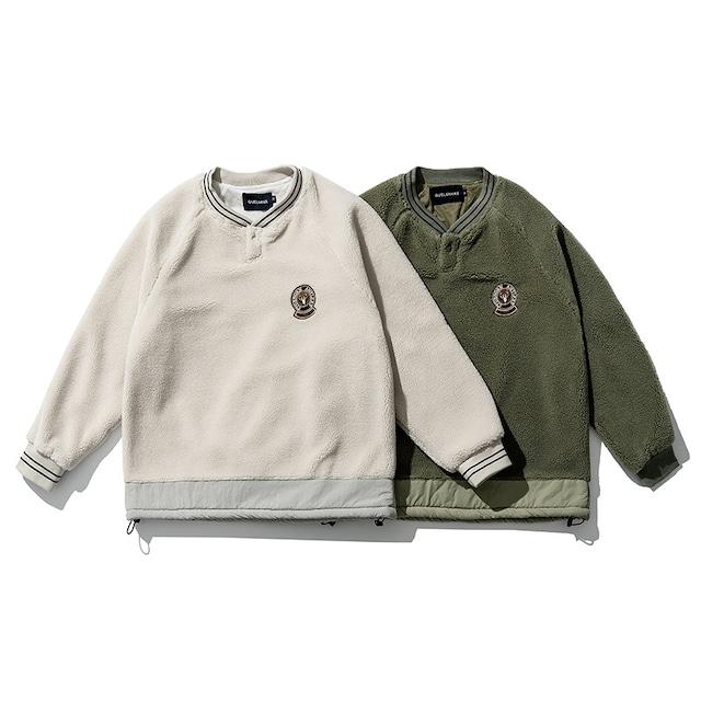 【UNISEX】 ベルベット エルボーパッチ フリース セーター【2colors】