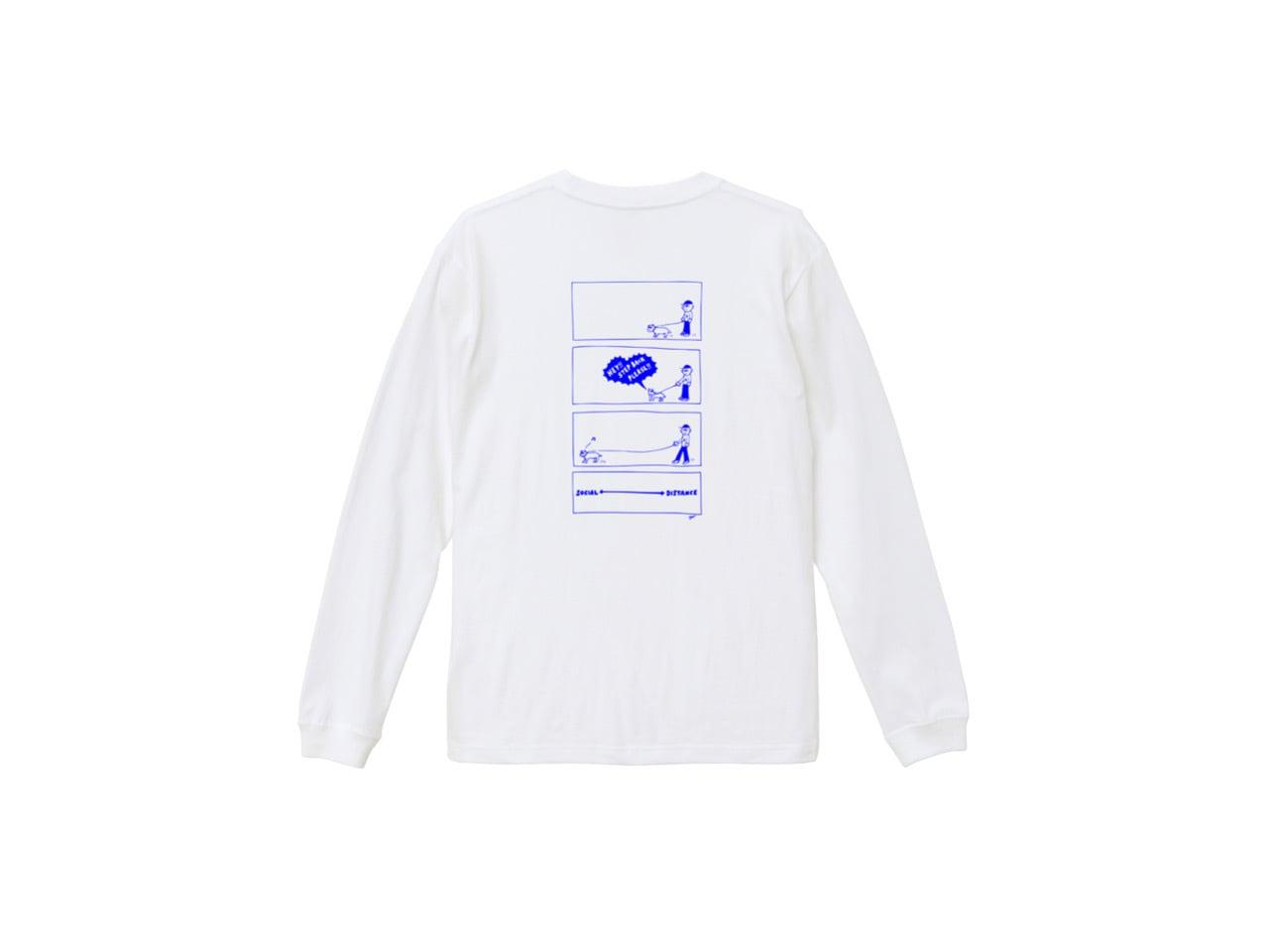 SHI × coguchi Dog SD long T-shirt (WH/BLUE)