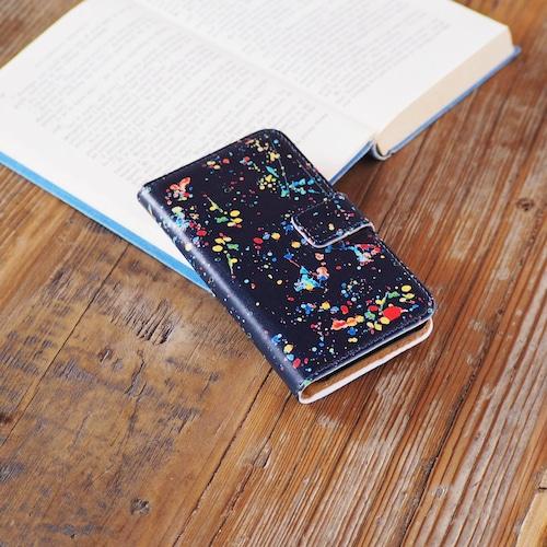 スプラッシュ 手帳型スマホケース ネイビー