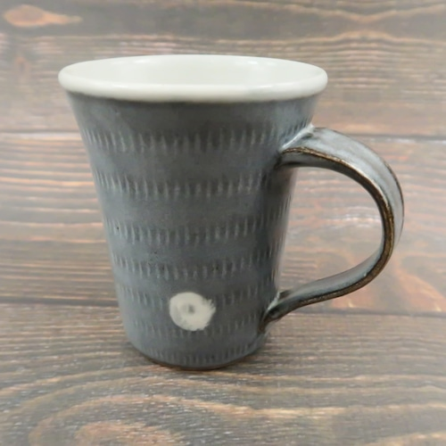 小石原焼 マグカップ グレイに白ドット 上鶴窯