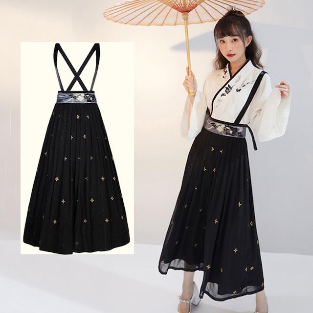 【十三余シリーズ】★チャイナ風つりスカート★ ボトムス 中華服  漢元素 合わせやすい ブラック 黒い