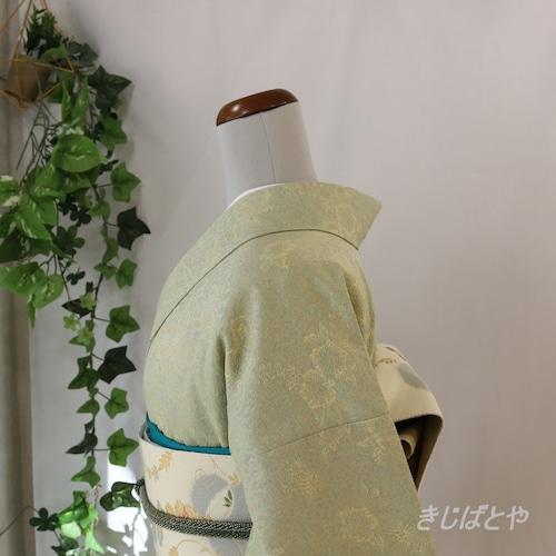 洗える着物 青磁にクリーム色の花の小紋 袷