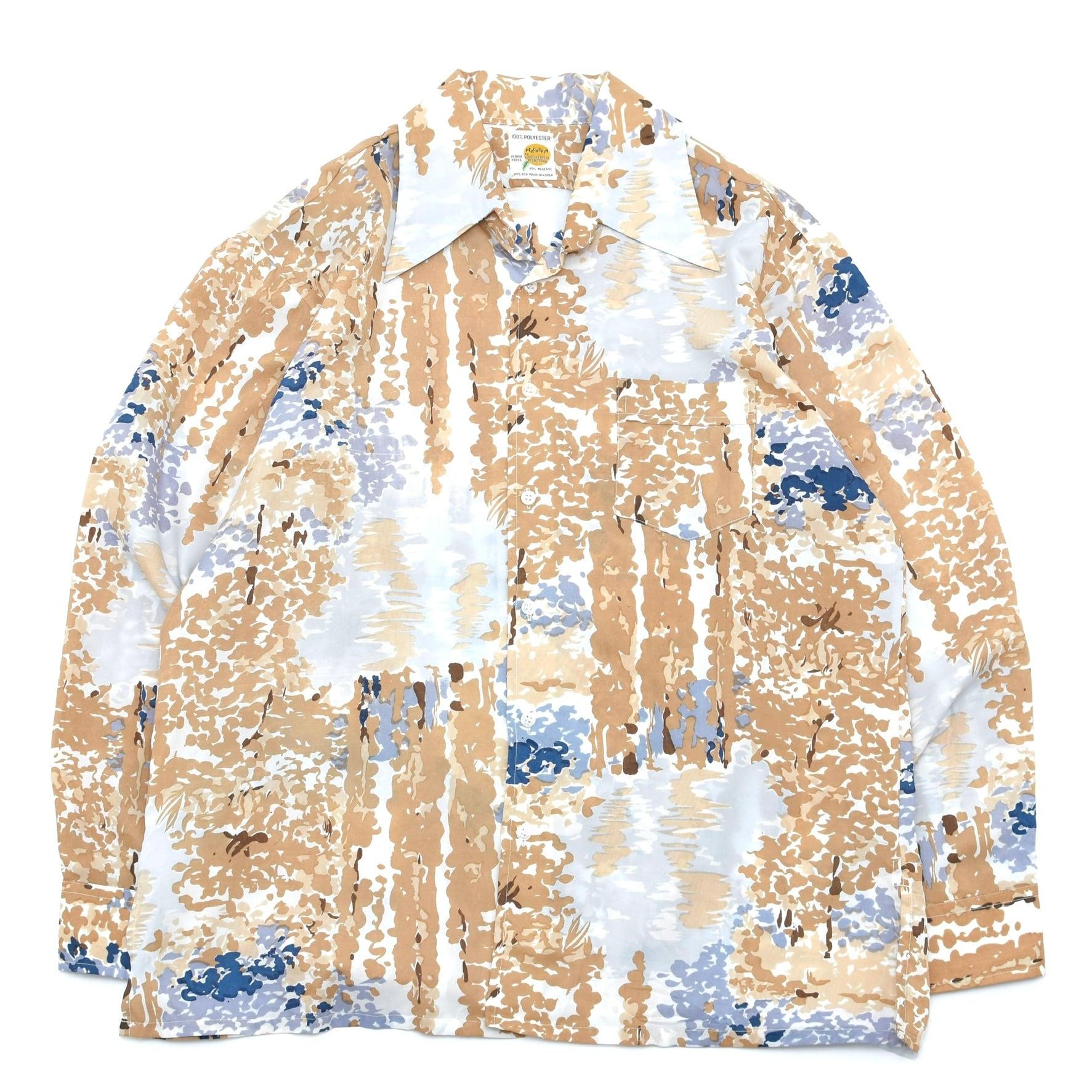 70's vintage full pattern polyester shirt