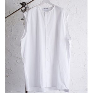 HED MAYNER - SLEEVELESS BUTTON SHIRT - SS21_S603_BEGorWHT/ COT COT - BEIGE COTTON / WHITE COTTON