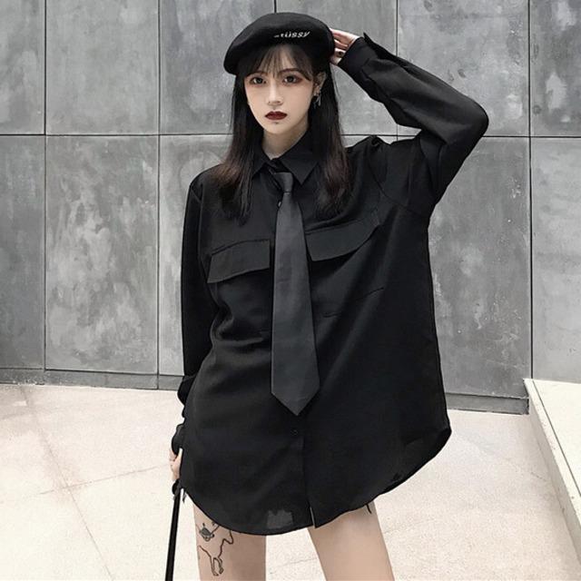 【トップス】長袖折り襟カレッジ風高品質シンプルシャツ42896827