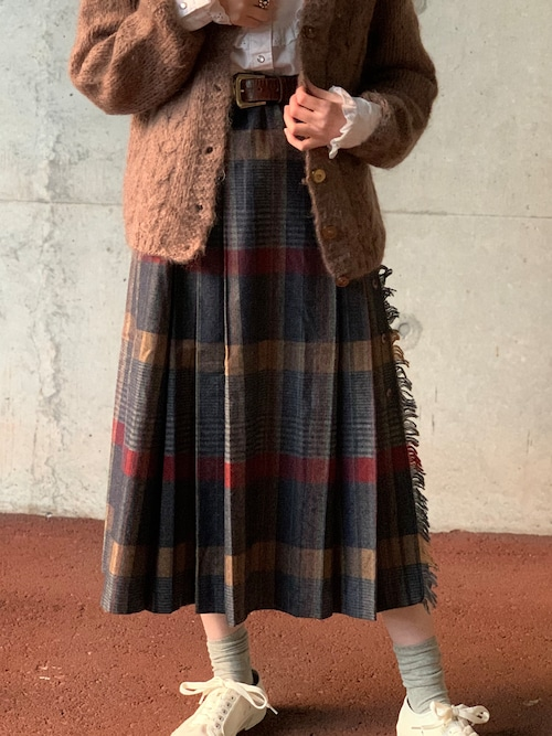 Vintage Pleated Plaid  Skirt Made In USA