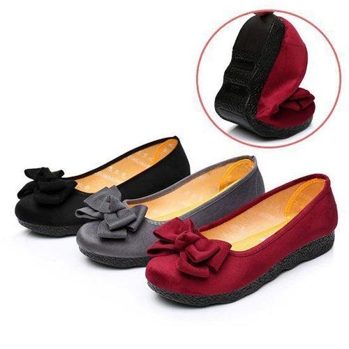 予約 レディースシューズ パンプス リボンシューズ レディース靴 やわらか 楽ちん クッション ローヒール フラットシューズ 秋 冬 りぼん かわいい 可愛い ぺたんこ レッド グレー ブラック 赤 黒 大きいサイズ 小さいサイズ S M L XL LL cw-a-3955