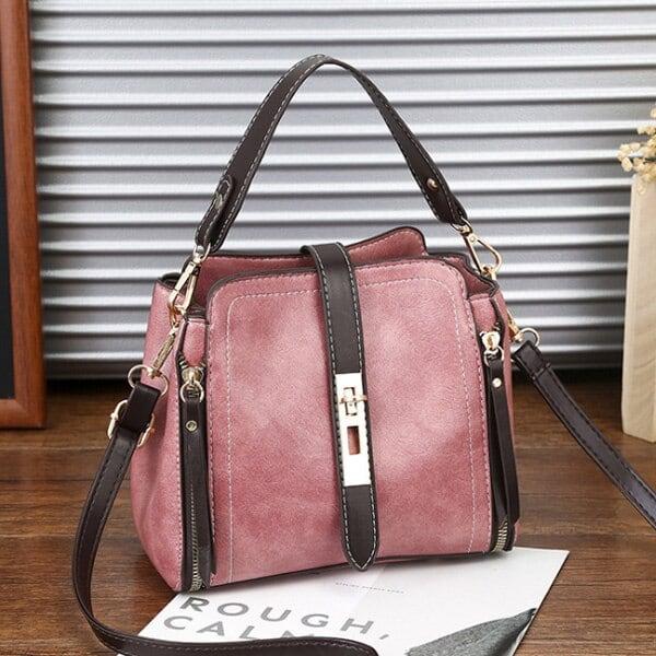 ファッションマジック レザーハンドバッグ ショルダーバッグ Pink