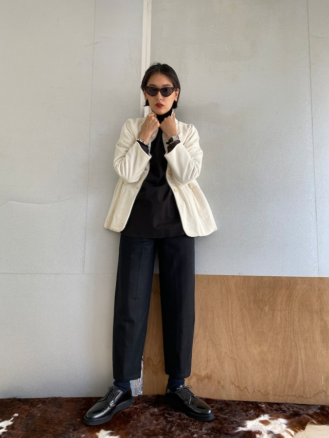 "Drop shoulder jacket ""white"" cotton velvet"