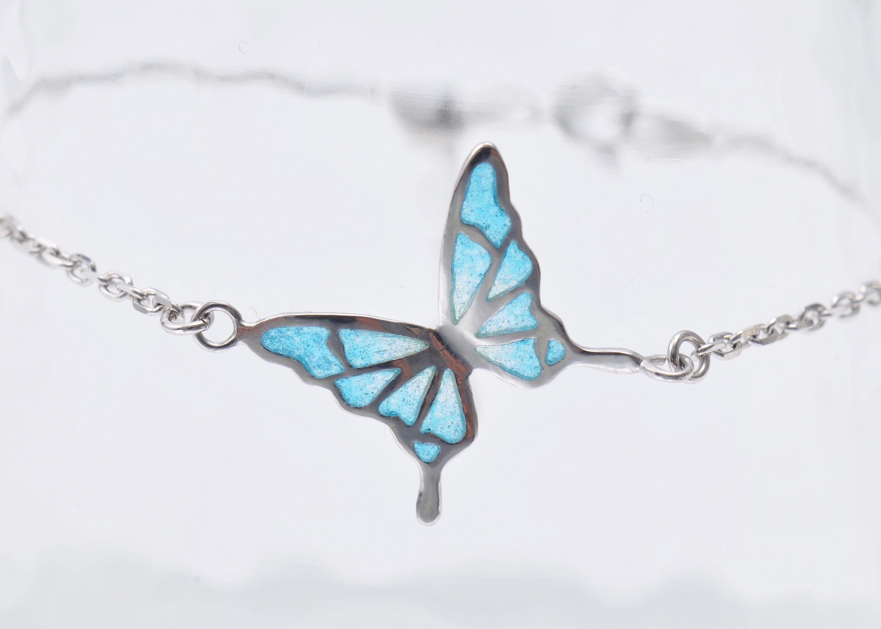 - 碧い蝶 - 透胎七宝ブレスレット/プリカジュール