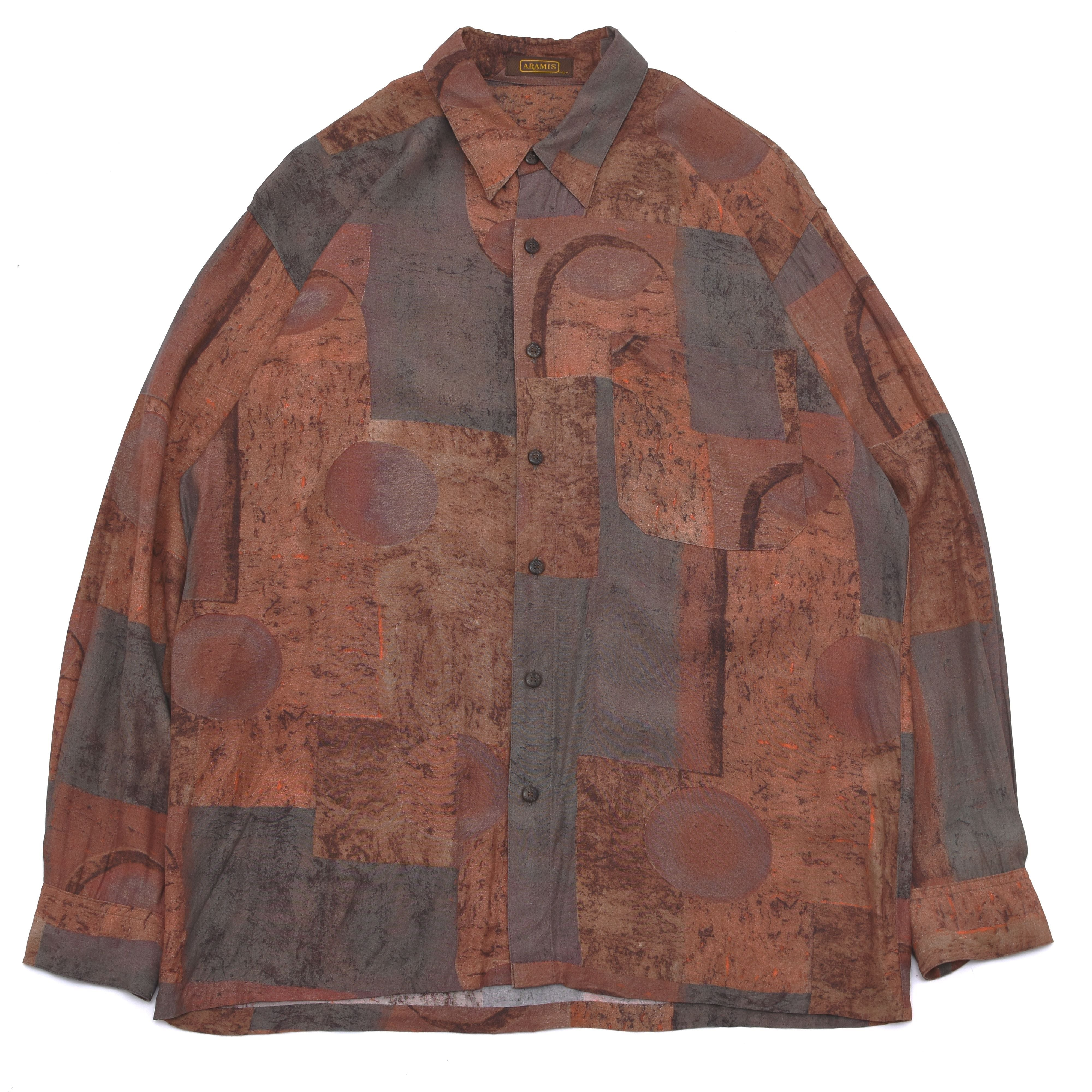 japan vintage geometric pattern rayon shirt