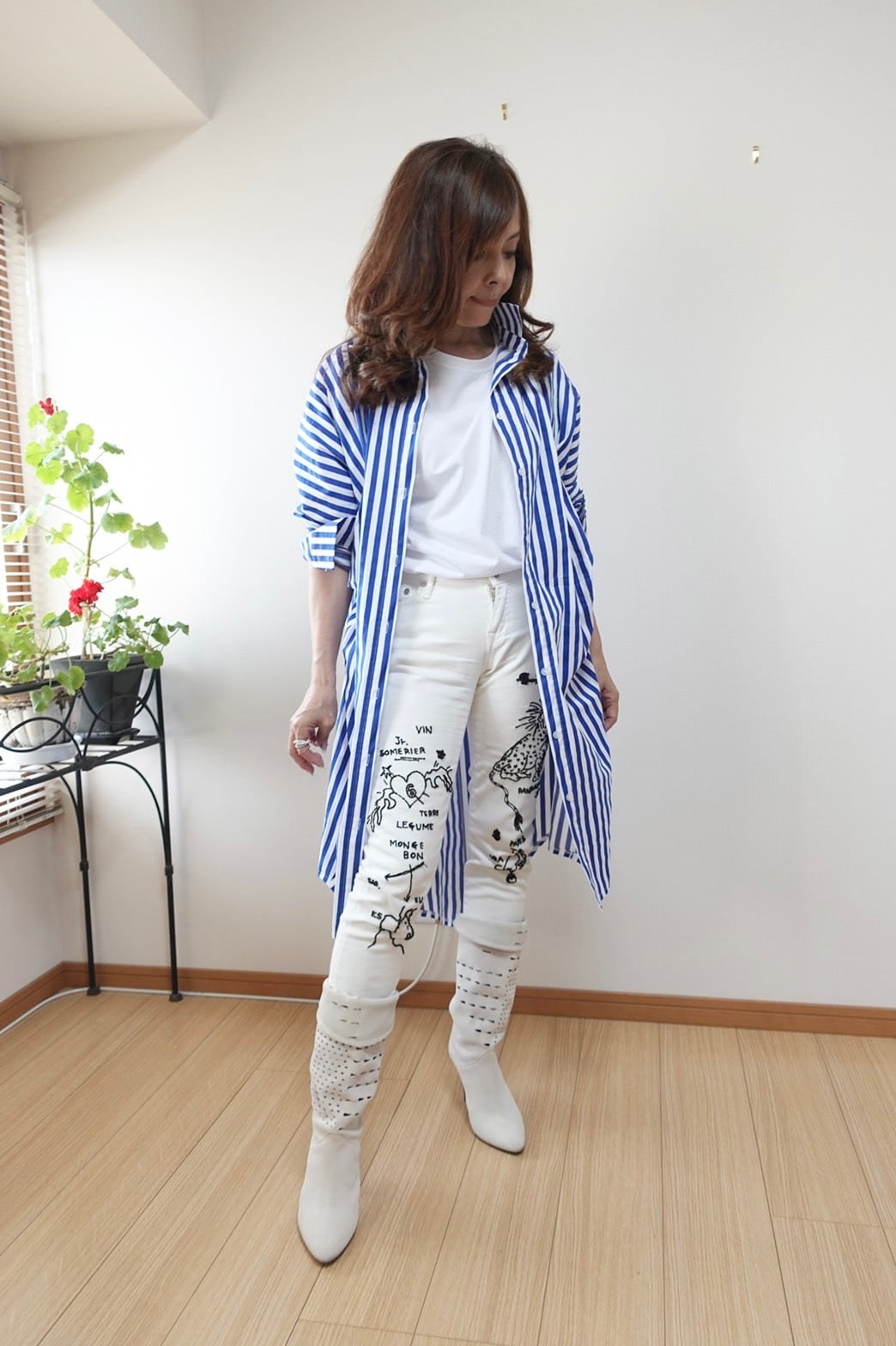 【限定10枚/送料無料】MFロングシャツ(ブルーストライプ) ¥20000→¥18000