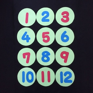 緑の丸い背景の数字(1~12)の壁面装飾