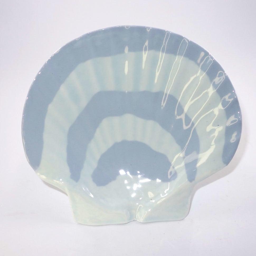 ホタテ貝皿(青白色縞模様)T-11