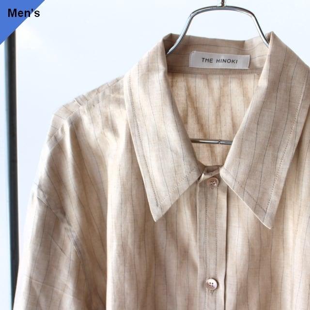 【ラスト1点】THE HINOKI オーガニックコットンよろけ織りシャツ Organic Cotton Yoroke Shirt  TH21W-27