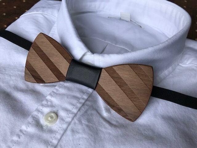 木製 蝶ネクタイ #Leather stripe - 画像4