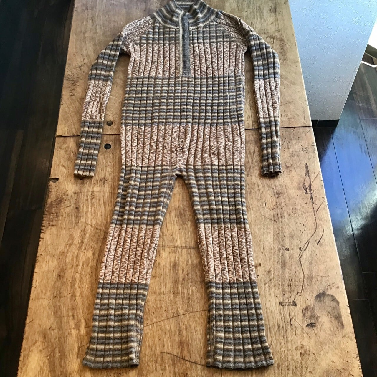 FUMIETANAKA F20A-11 knit rompers color brown/beige mix size 38