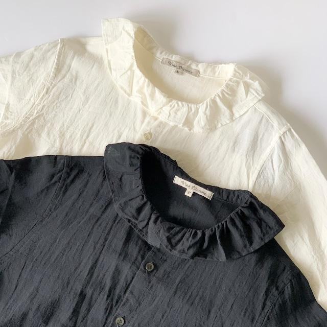 Vlas Blomme - Cotton Linen ガスボイル フリル衿シャツ - Off White / Black