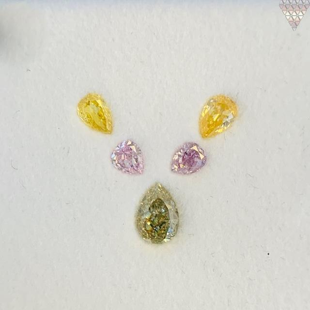 合計  0.61 ct 天然 カラー ダイヤモンド 5 ピース GIA  1 点 付 マルチスタイル / カラー FANCY DIAMOND 【DEF GIA MULTI】