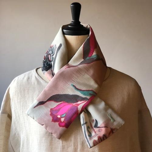 銘仙×リネン刺繍の小さな襟巻き2011/八月のうさぎ 着物 古布 リメイク ストール プチマフラー ネックウォーマー
