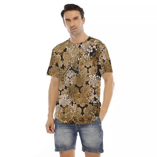 家紋装飾ゴールド メンズ&レディースTシャツ ベルベット or ジャージ