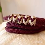 正絹 小田巻つきの丸組の帯締め 小豆色
