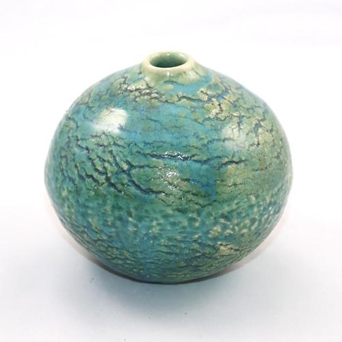 青織部 小壺  Blue Oribe Small Vase