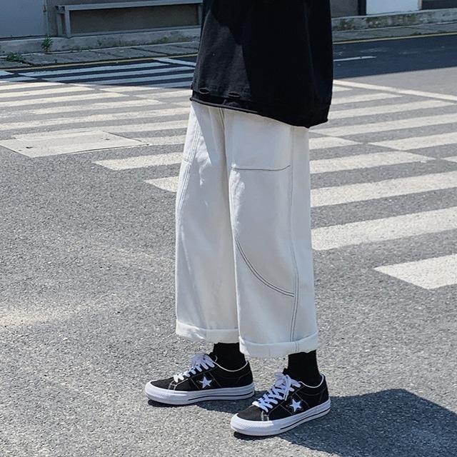 【SELECT】ワイドデニムテーパードパンツ