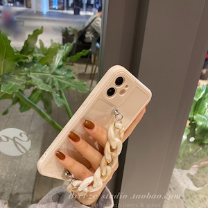 マーブル柄チェーンストラップiPhoneケース S3899