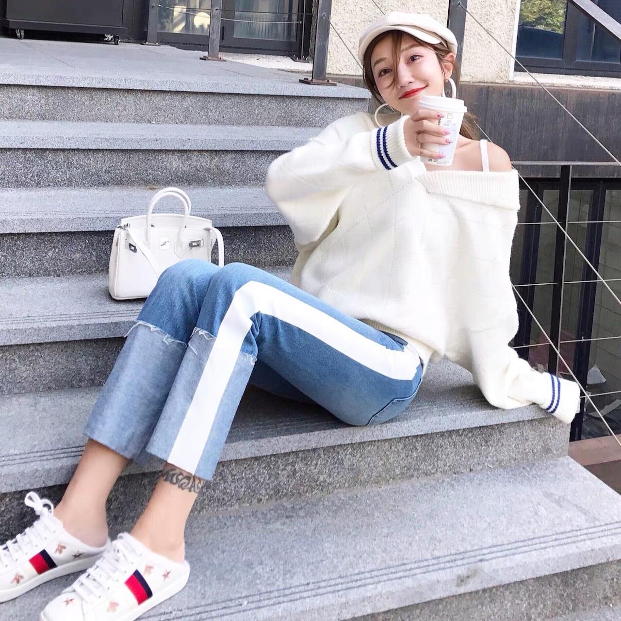 【即納】side white line pants