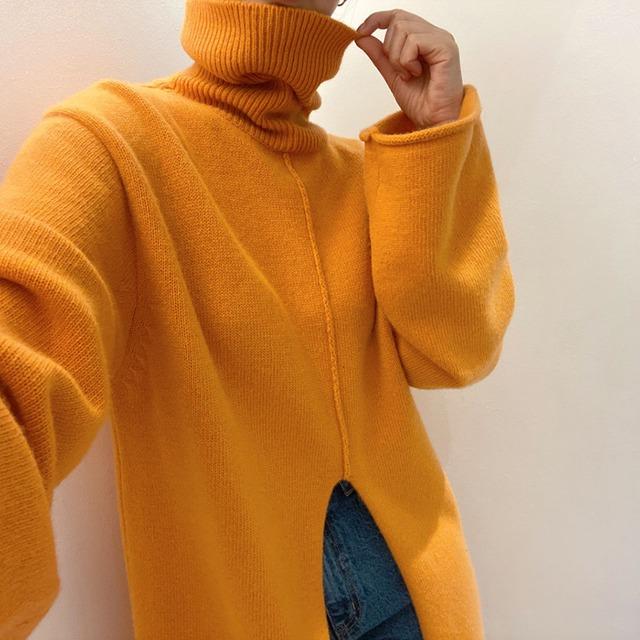 スリットロングニットセーター 2色 【TN1004】