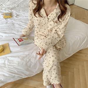 Floral pattern cotton pajamas