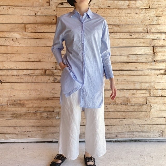 TOPANGA Lady's アシンメトリーロングシャツ ブルー