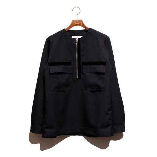 Enharmonic TAVERN No Collar Half Zip Shirt -black <LSD-AH3S3>