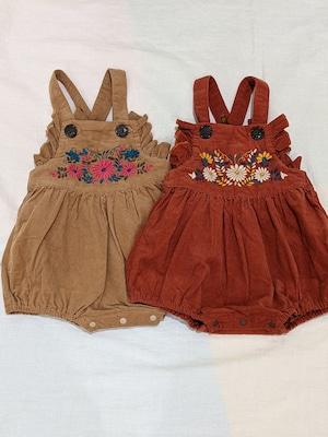刺繍サロペットロンパース