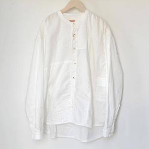 キャピタル 綿×リネンパッチワークバンドカラーカトマンズシャツ