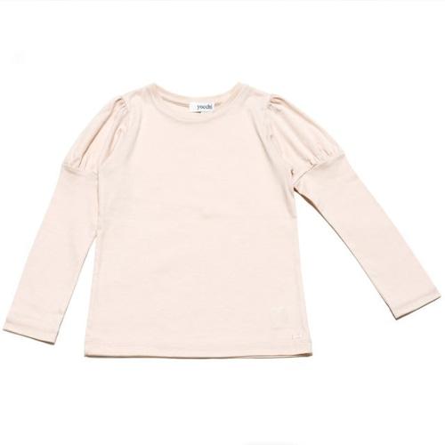 綿レーヨンスムース パフ袖カットソー(ピンク)