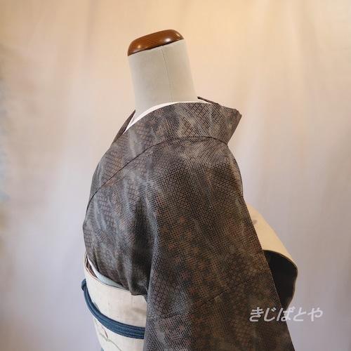 大島紬 灰青の小紋 袷