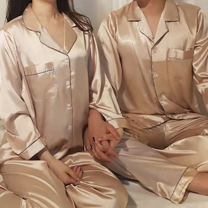 【couple】basic silk room wear / ベーシック シルク ペア パジャマ ルームウェア 韓国