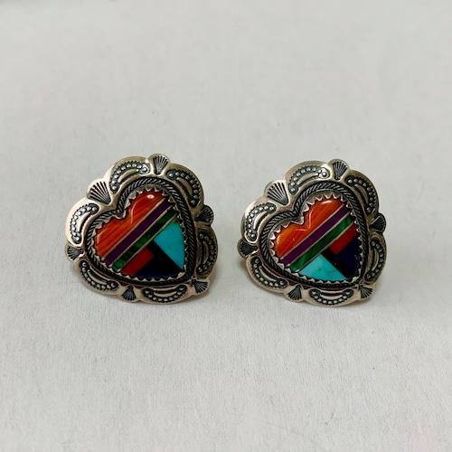 Vintage Zuni Mosaic Heart Pirced Earrings