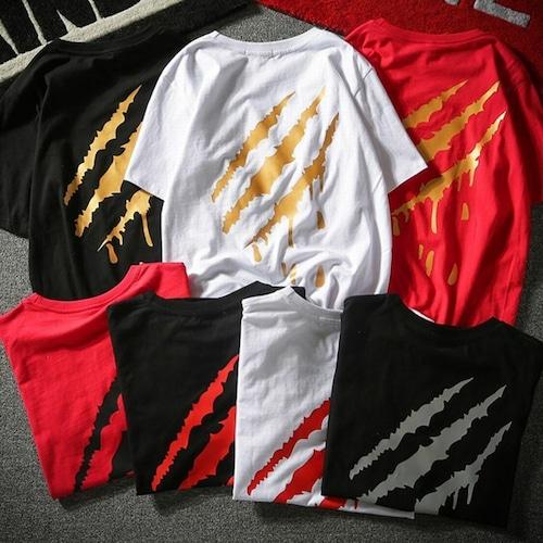 【★送料無料★】 7カラー ユニセックス Tシャツ 爪痕 韓国ファッション メンズ レディース トップス ストリート系 (DCT-574034088807)