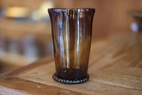 ◆森永豊◆ モリナ透明硝子工房 <吹き硝子>◆◆巻き底ビアグラス・飴◆◆