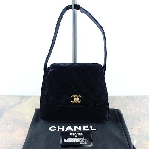 .CHANEL COCO MARC TURN ROCK MATELASSE VELOUR HAND BAG MADE IN FRANCE/シャネルターンロックマトラッセベロアハンドバッグ2000000051321
